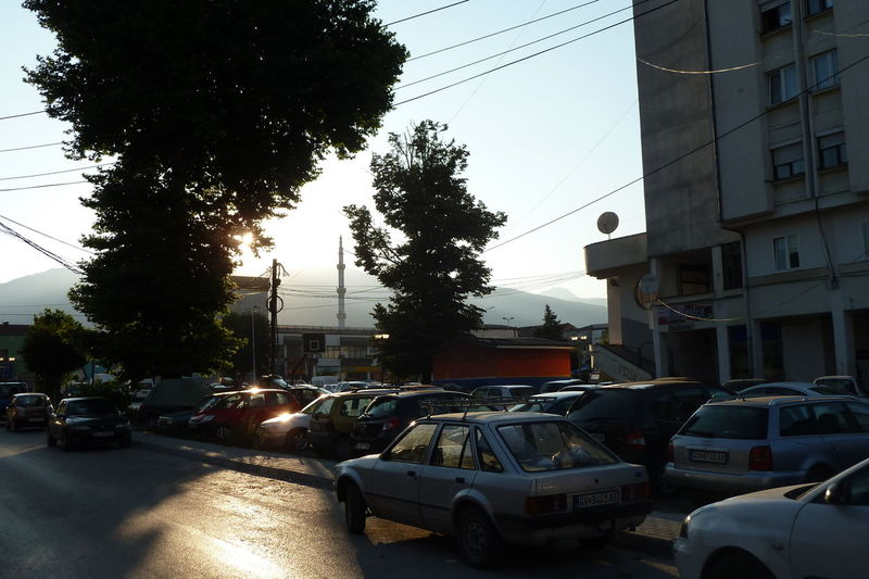 Architecture Built Structure Car City Clear Sky Gostivar Hard Light Land Vehicle Macedonia Mode Of Transport Mosque Parked Parking Power Line  Road Sar Planina Sky Stationary Street Traffic Transportation Travel Tree Urban Windshield