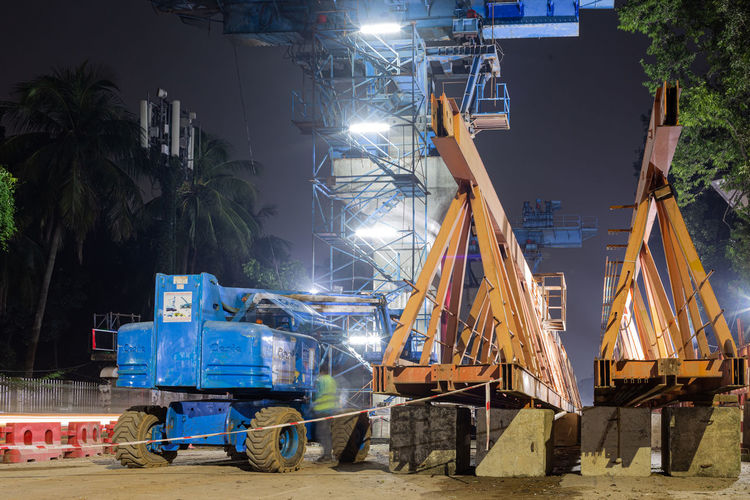 View of construction site at night