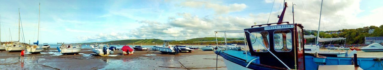 Cloud - Sky Sky Water Beach Outdoors Day Nautical Vessel Nature Eyemphotography Eyeemphoto Harbor Tides Out Tide Is Out EyeEmNewHere EyeEm Selects The Week On EyeEm Panorama Panoramic Photography EyeEm Beach Lovers Boats⛵️ Jolly Roger Just Walking Taking Photos Tranquility Wales Sun
