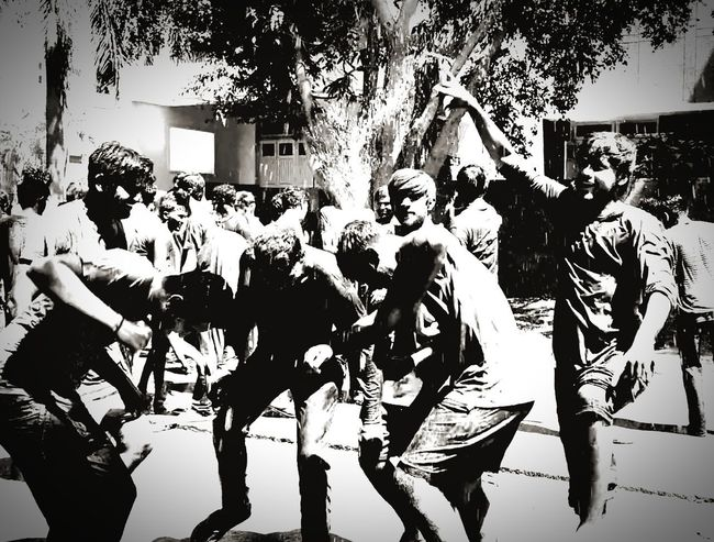 festival of colours looks really nice in black and white. PiChKari Gulal Saffron Flame Collourfull Colors Holi Dancing People Adult Arts Culture And Entertainment Adults Only Outdoors Togetherness This Is Masculinity EyeEmNewHere Go Higher Stories From The City Inner Power