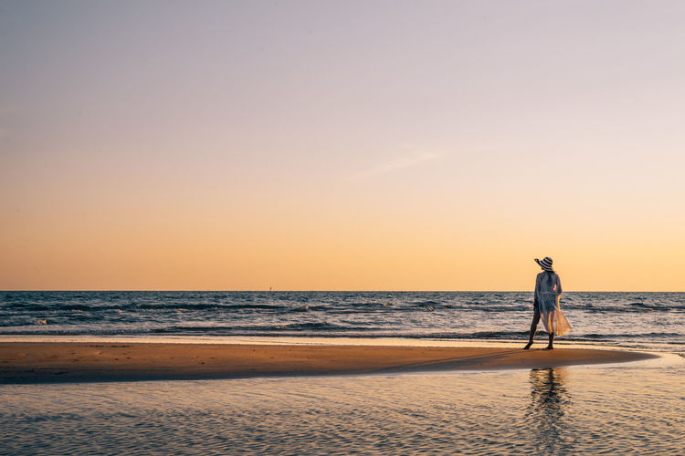 Hello summer.. :D Sea Water Sky Beach Sunset Horizon Over Water Land One Person Horizon Full Length Lifestyles Leisure Activity Men Tranquility Tranquil Scene Outdoors Woman Alone Summer Hat Sun Travel Holiday Thailand Phuket My Best Photo