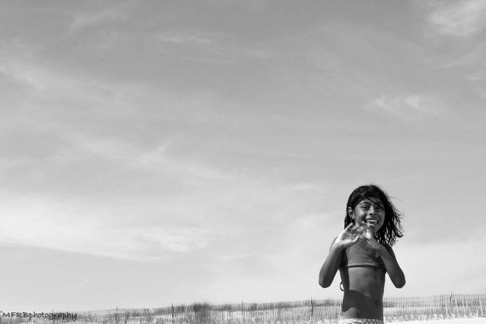 Sun, sand, smiles Sky Beach Blackandwhite Photography Oceanside Sand Smiles Summer Fireisland