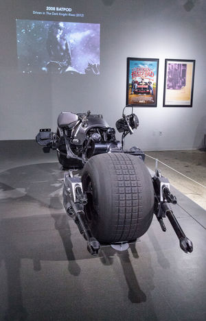 Los Angeles, CA, USA - March 4, 2017: Black 2008 Batpod motorcycle from the Dark Knight Batman movie collection of Glenn and Shannon Dellimore at the Petersen Automotive Museum in Los Angeles, California, United States. Editorial only. 2008 Batman Batpod Bike Dark Knight Fast Motorcycle Movie Prop Movie Props Petersen Automotive Museum Transportation