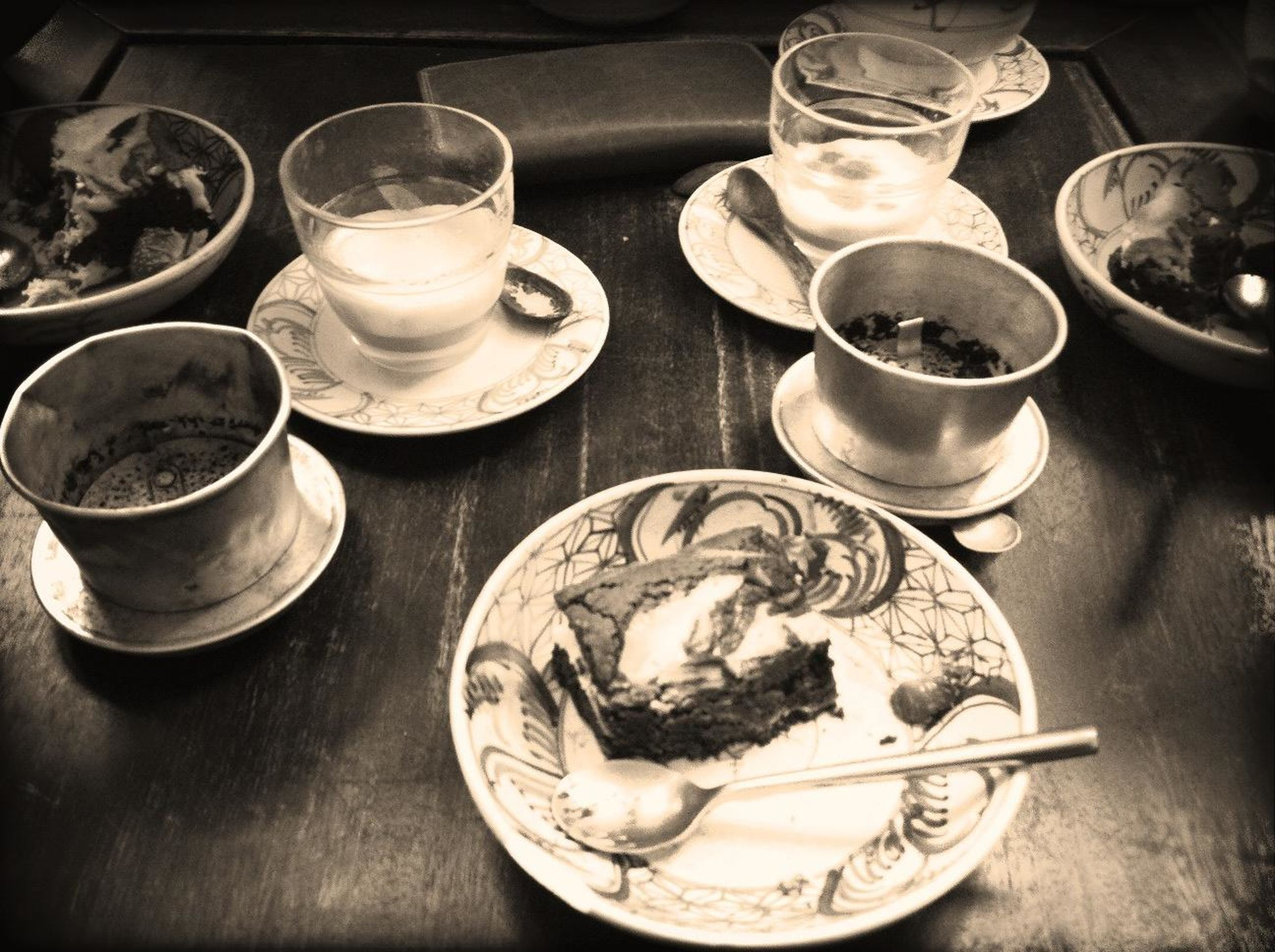 food and drink, indoors, table, drink, freshness, still life, refreshment, drinking glass, food, plate, healthy eating, high angle view, ready-to-eat, coffee cup, coffee - drink, bowl, glass - material, serving size, cup, close-up