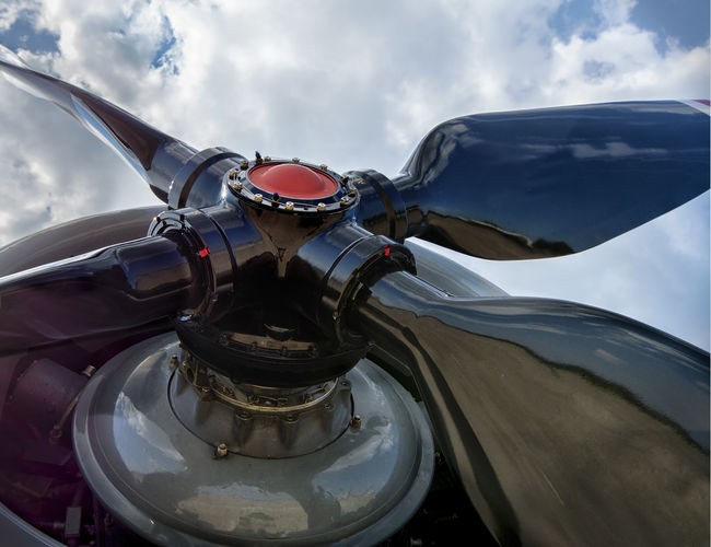 Propeller with four blades. Low angle view. Low Angle View Air Vehicle Aircraft Aircraft Engine Airplane Aviation Aviation Photography Close-up Engine Mode Of Transportation No People Plane Propeller Propeller Airplane Propeller Blades Propeller Plane Propeller-driven Aircraft Transportation