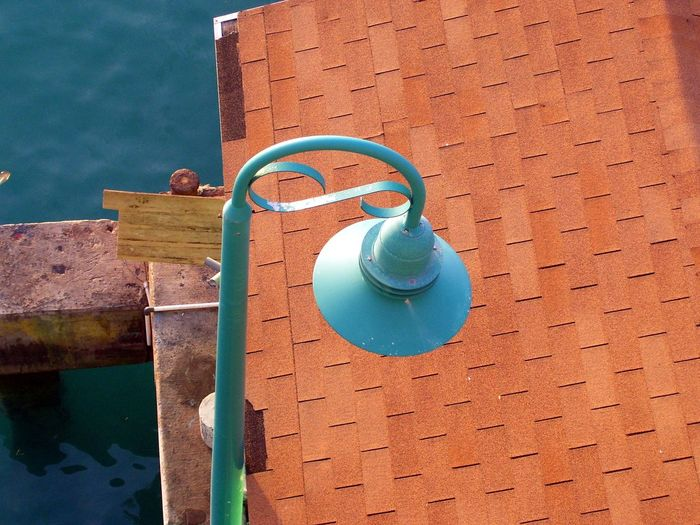 Blue Close-up Day High Angle View Lamppost Nature No People Outdoors Roof Swimming Pool Vintage Lamp Post Water