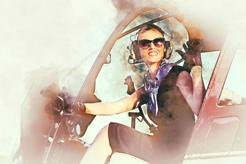 Attractive woman pilot sitting in the helicopter. Digital watercolor painting Aircraft Airplane Airport Altered ArtWork Business Woman Career Caucasian Collage Computer Generated Digital Art Headphones Helicopter Illustration Lady Landing Field Lifestyle Occupation Pilot Professional Sitting Smiling Sunglasses Watercolor Woman