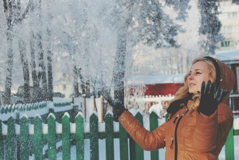 Relaxing Beauty Winter Girl Snow Day