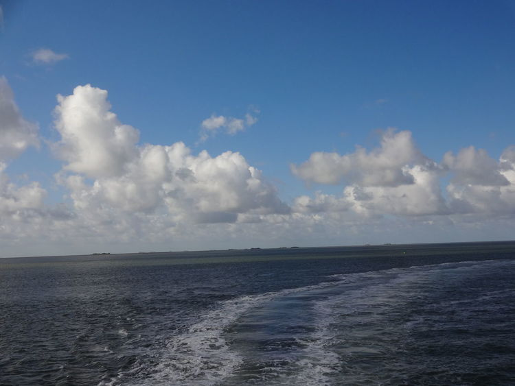 Nature Cloud - Sky Outdoors Water No People Sky Day Tranquility Blue Beauty In Nature Sea Landscape Seascape Hallig Schifffahrt Nordsee North Sea Föhr Troubled Water Reise Traveling Sea And Sky Sunny Day Shipping