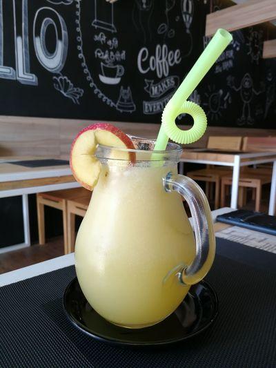 Indoors  Table Drink No People Blackboard  Day Close-up Apple Lemonade Cafe Coffee Shop