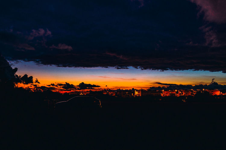 Scenic view of dramatic sky at night