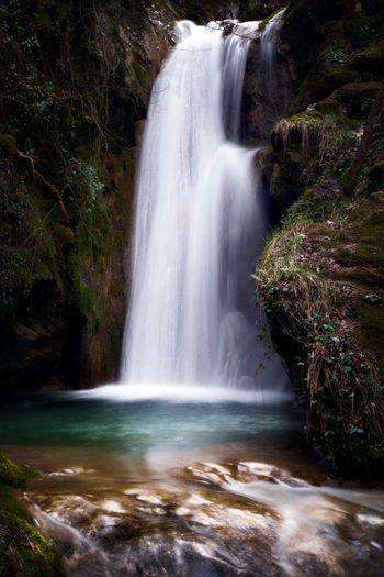 Pozza del Diavolo waterfall, in the municipality of Monte San Giovanni in Sabina, Italy. Waterfall, long exposure. Flowing Water Green Color Natural Beauty Blurred Motion Day Idyllic Long Exposure No People Outdoors Power In Nature River Rock - Object Scene Source Of Water Stream - Flowing Water Tranquility Scene Tranquilly Scene Waterfall Waterfalls