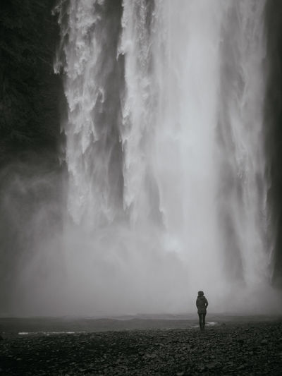 Lost In The Landscape Adult Adults Only Beauty In Nature Day Fog Full Length Hot Spring Long Exposure Men Nature One Man Only One Person Outdoors People Power In Nature Real People Rear View Scenics Sky Standing Travel Destinations Water Waterfall