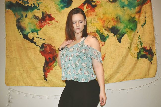 A photo of myself for a change Map Watercolor Tapestry World Me Ootd Concert Model Feeling Good Young Women Females Standing Ink Multi Colored Artist's Canvas Canvas