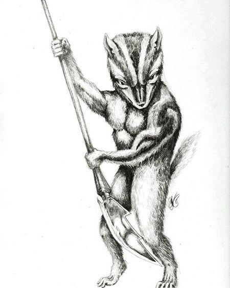 Chip Monk; Enforcer, of the O.F.P: (Order of the Fuzzy Preists) Sketch Drawing Fantasy Conceptart Character Chipmunk Anthropromorphic Blackandwhite Crosshatching Creature Warrior Art