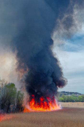 Low angle view of fire on landscape against sky