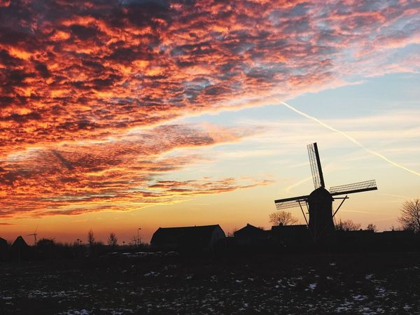 Sunset in the city Sunset Windmill Nature Cloud - Sky Beauty In Nature Orange Color No People Traditional Windmill Outdoors First Eyeem Photo