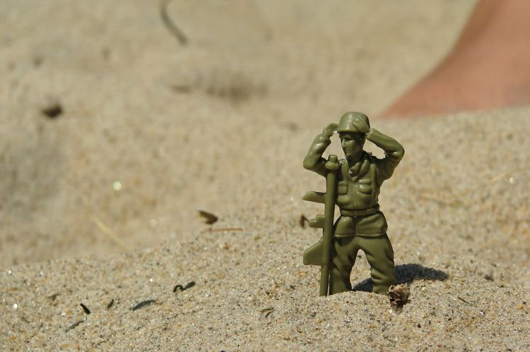 Beech Close-up Day Ground Nature Outdoors Sand Selective Focus Soldier Toy Soldier Toys
