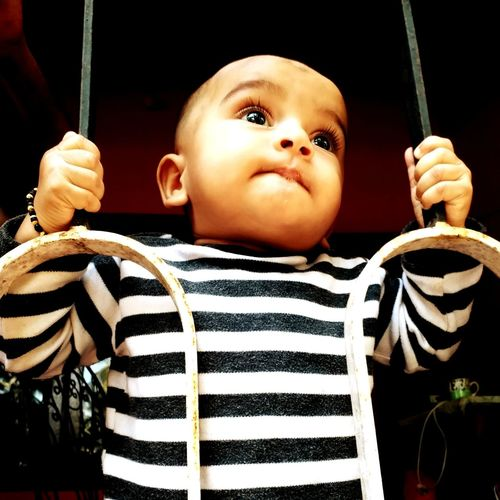 The future is with kids Child Childhood Portrait Striped Baby Cute Front View Happiness Close-up Babyhood One Baby Girl Only Toddler  Babies Only Representing Baby Girls Doll