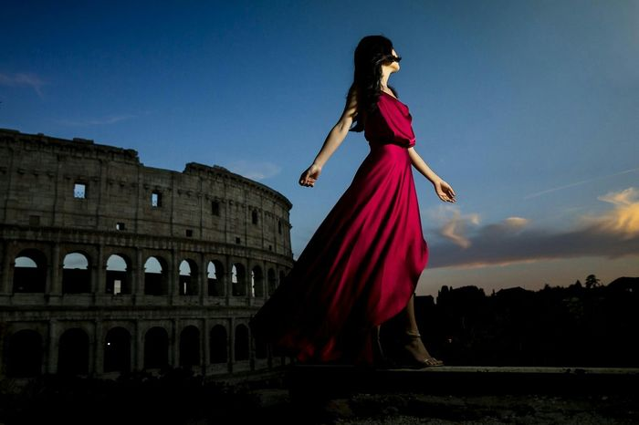 Red Photoshoot Rome Italy Fashion The Fashionist - 2015 EyeEm Awards The Colosseum, Rome Night Photography Nightphotography Bluehour Model
