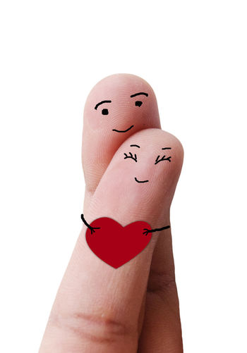 Finger Love Happiness Love Romantic Sweet Dreams Valentine Valentine's Day  Anthropomorphic Face Anthropomorphic Smiley Face Art And Craft Close-up Creativity Cute Day Drawing - Activity Fingers Human Body Part Human Hand Human Representation Lovely One Person People Studio Shot White Background