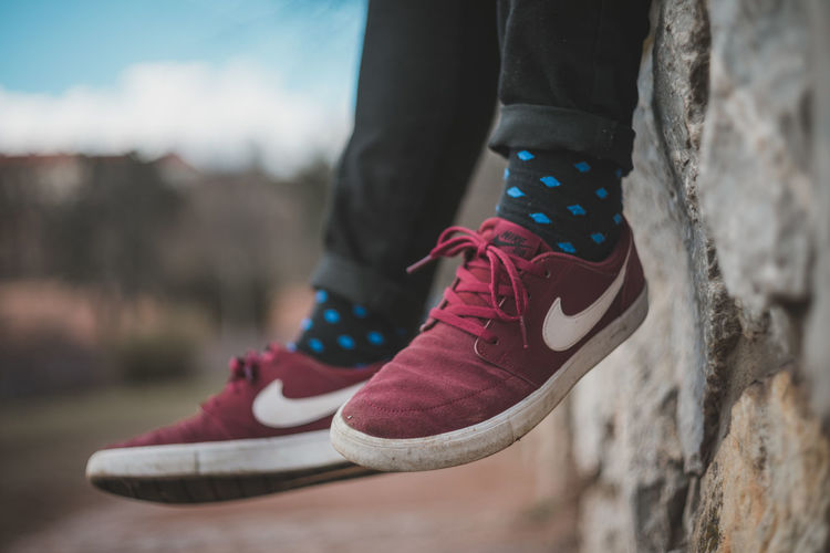 Nike✔ Canvas Shoe Close-up Colorful Socks Day Fashion Focus On Foreground Human Body Part Human Leg Lifestyles Low Section Nike One Person Outdoors Pair People Real People Shoe Shoelace Socks Standing Wearing