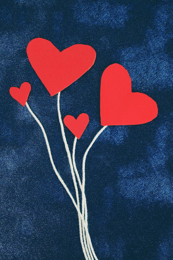 Heart Shape Red Emotion Love Positive Emotion Art And Craft Creativity Indoors  Close-up Romance Design Still Life High Angle View Valentine's Day - Holiday Craft Directly Above Shape Blue Paper Message Family Tree