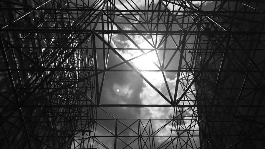 Scaffolding Sky Architecture Built Structure No People Black And White Blackandwhite Black & White Low Angle View Low Angle Shot Low Angle Perspective Building Construction Site