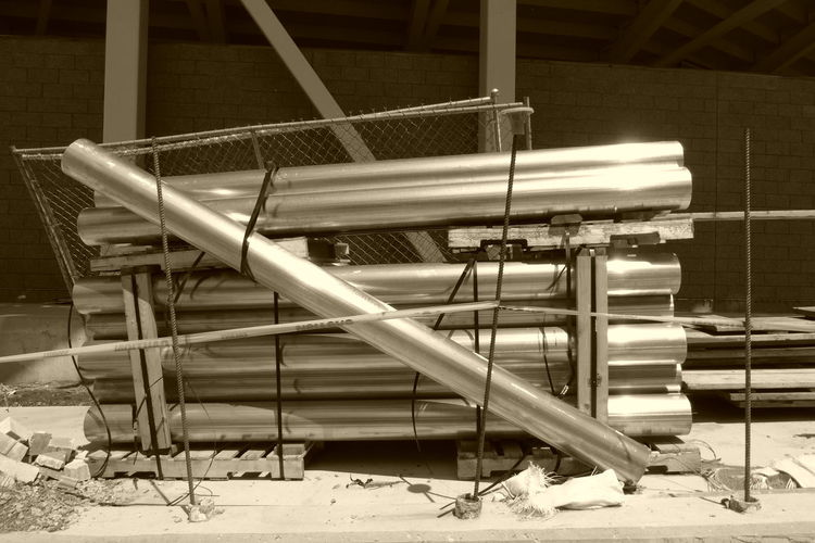 Construction, pipes in bundles. Absence Construction Construction Industry Construction Site Construction Work Day Empty Inprogress Metal Metalpipe No People Pipe Pipe - Tube Sepia Sepia Photography Sepia_collection Shinny Unfinished Unfinished Work...