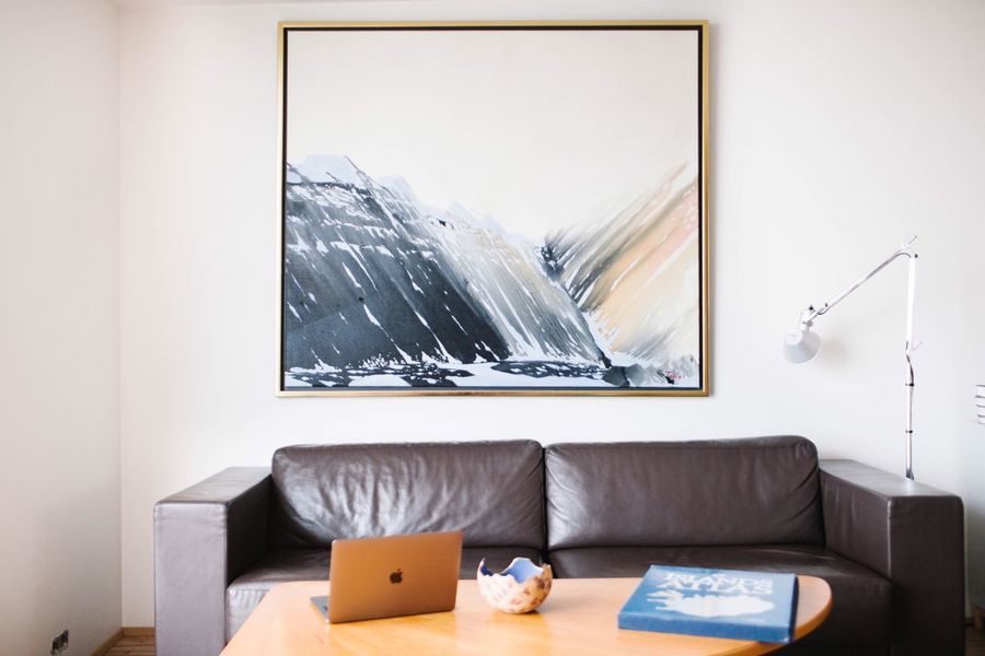 Sofa Mountain Drawing Painting Lifestyles Interior Interior Design Furniture Sofa Home Interior Indoors  No People Window Domestic Room Living Room Table Day Domestic Life Pillow Technology Glass - Material Lifestyles Relaxation Absence Transparent Nature Modern Hospitality