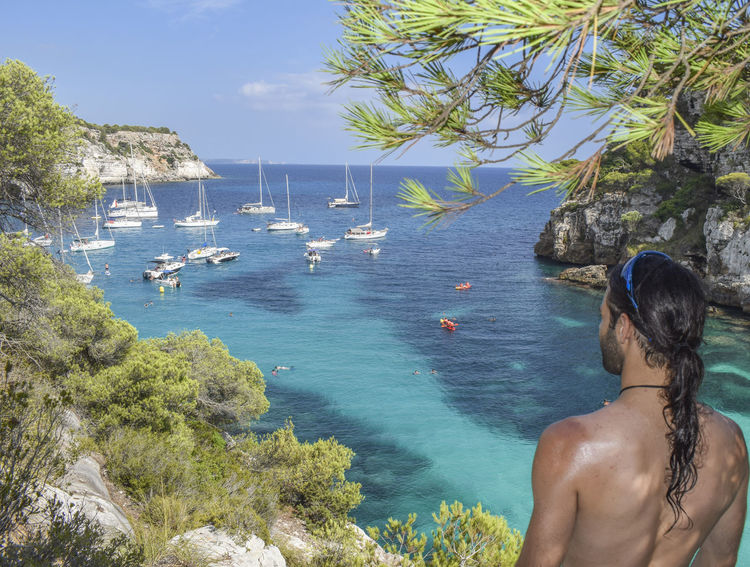 Amazed Holiday Pines Amazing Beach Beard Beauty In Nature Horizon Impressed Longhair Menorca One Person Rear View Scenics Sea Shirtless Standing Staring Summer Travel Destinations Tree Turqoise Vacations This Is Masculinity