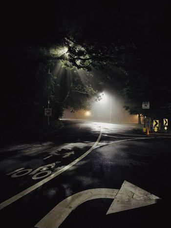 Night Illuminated Road Transportation Street The Way Forward Street Light No People Direction Outdoors Tree Road Sign Nature
