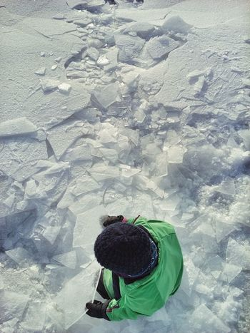 Natural Playground Child Kids And Nature Winter Cold Temperature Snow Exploring Warm Clothing Nature Real People Weather One Person Beauty In Nature Outdoors Polygons Triangles Nature Geometry Pattern, Texture, Shape And Form Abstract Landscape Abstract Textured  Nature Create Winter Landscape Cracked Ice