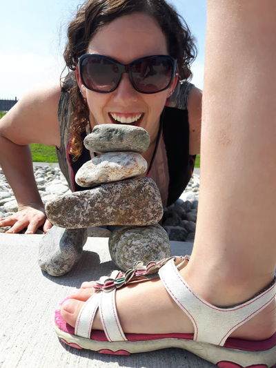 EyeEm Selects Sunglasses Adult Outdoors Young Women Close-up Canada150 Inukshuk Connected By Travel