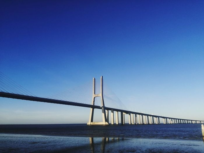 Bridge over water against clear blue sky