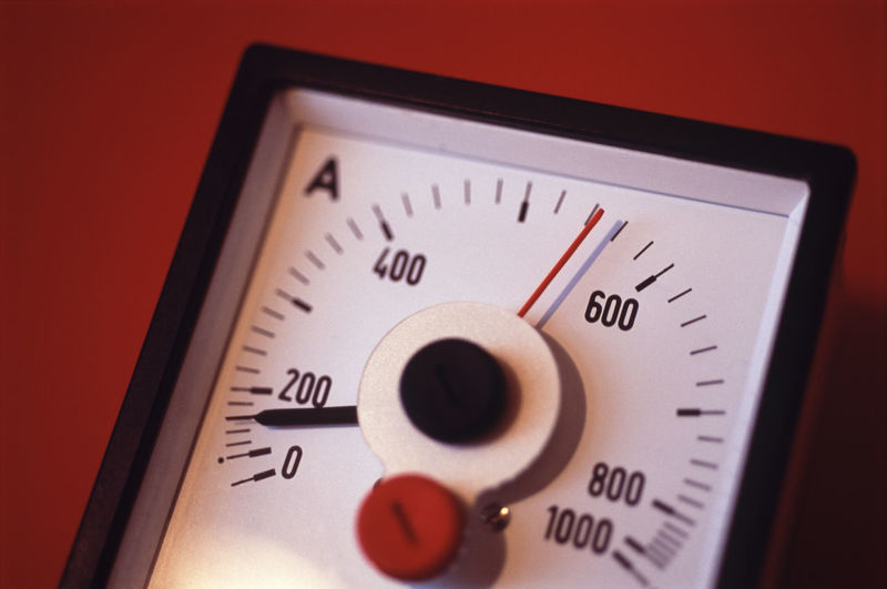 Close-up of ammeter on red background