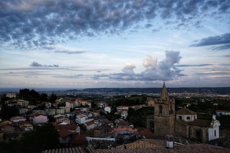 High Angle View Of A Spoltore Clouds Dramatic Sky Scenic View Belvedere Historical Center Medieval Village Old Village Italy Europe Spoltore, Abruzzo Spoltore Spoltore By Night City Cityscape Urban Skyline Aerial View Sunset High Angle View Dome Sky Architecture Horizon Over Water Roof Town