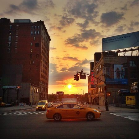 Hells Kitchen  Hellskitchen New York City Taxi Sunset Sunset And Clouds  My Daily Commute