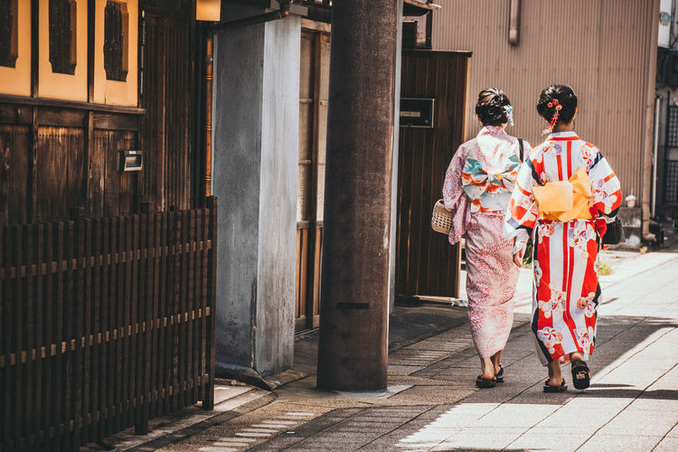 Girls in Yukata Classic Inuyama Japan Taking Photos Traditional Clothing Travel Trip YUKATA Architecture Built Structure Cultures Girls Kimono Real People Rear View Street Young Adult ゆかた 日本 犬山 The Street Photographer - 2018 EyeEm Awards