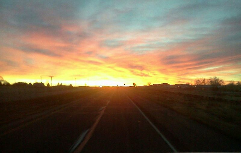 Incredible Sunrise What A Colorful Sunrise On The Road With The Sunrise Beautiful Colors Pink Yellow Orange Blue