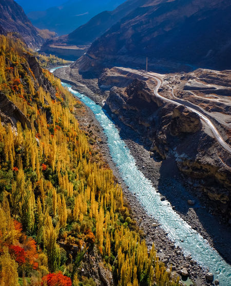 High angle view of river in valley