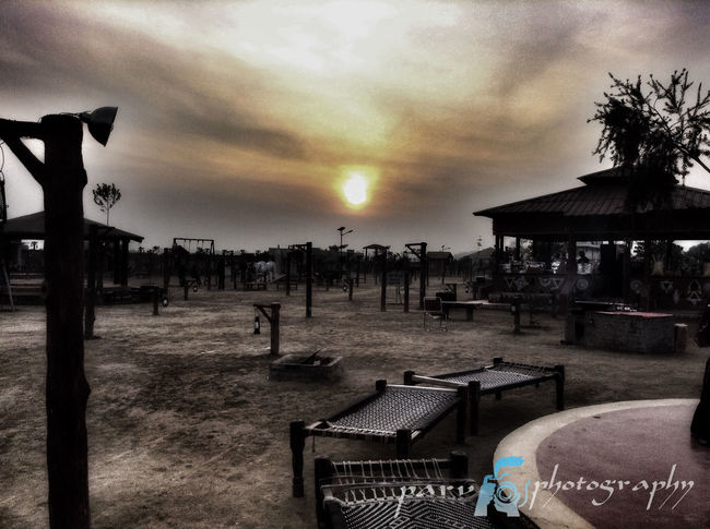 Absence Bench Chopal Dusk India Outdoors Sky Sunset The Way Forward Tree Village Life