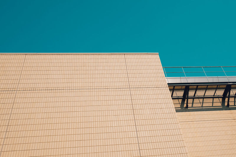 Architecture Blue Building Building Exterior Built Structure Clear Sky Color Of Life Color Palette Day Exterior Low Angle View Modern No People Outdoors Repetition Sky Minimalist Architecture