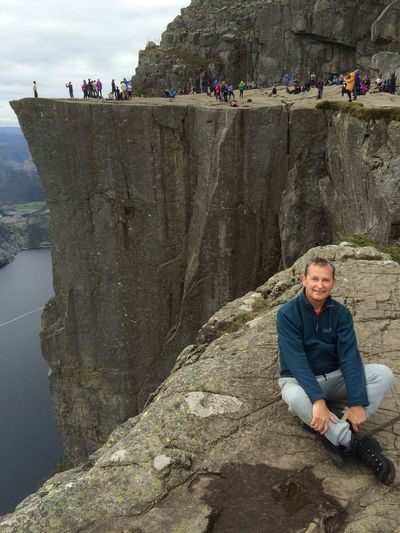 Preikestole Danger In The Rocks Fjordsofnorway Fjord Preikestolen One Person Real People Leisure Activity Water Men Lifestyles EyeEmNewHere Outdoors Nature Rock - Object Nature