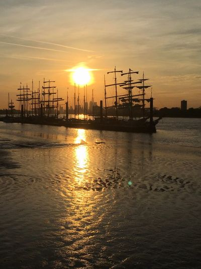 Low Tide Tall Ships at Sunset on the River Thames Sky Water Cloud - Sky Waterfront Paint The Town Yellow