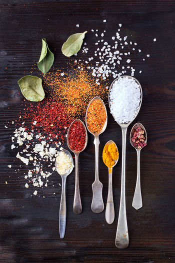 Various asian spices in spoons decorated with whole dry chili and lime leaves. Top view Above Background Black Chili  Chinese Cinnamon Cumin Food Leaf Lime Powder Red Saffron Salt Spice Spoon Top Tumeric Various View