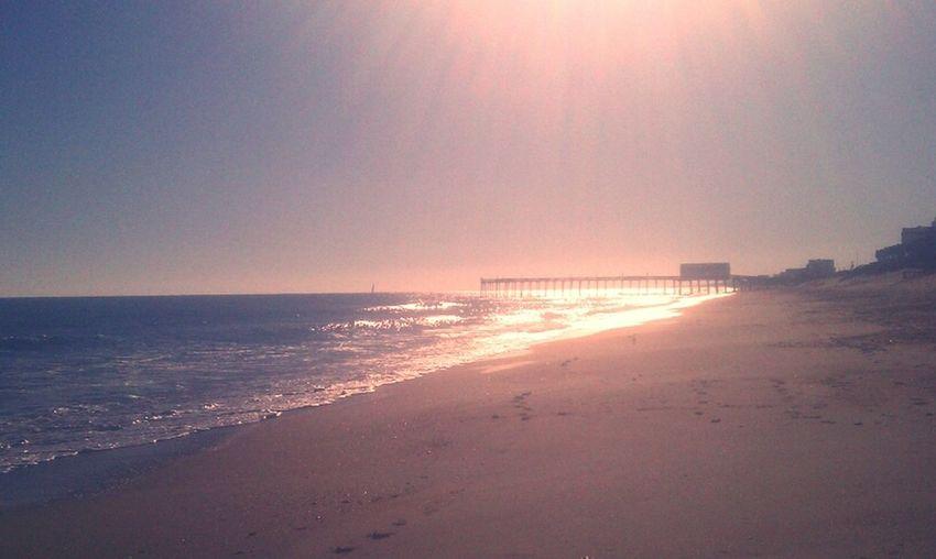 Surfing Pier Atlantic Ocean Waves North Carolina OBX Knee HIGH