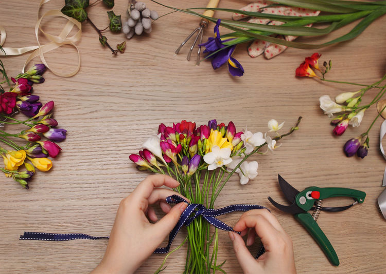 High angle view of hand holding bouquet