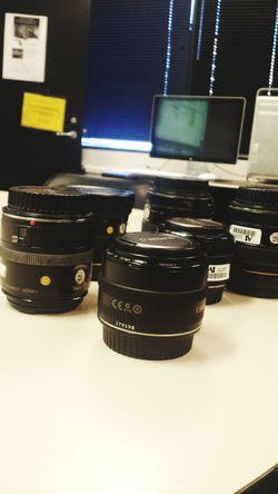 Camera lenses at class today. Lenses Canon Camera Equipment
