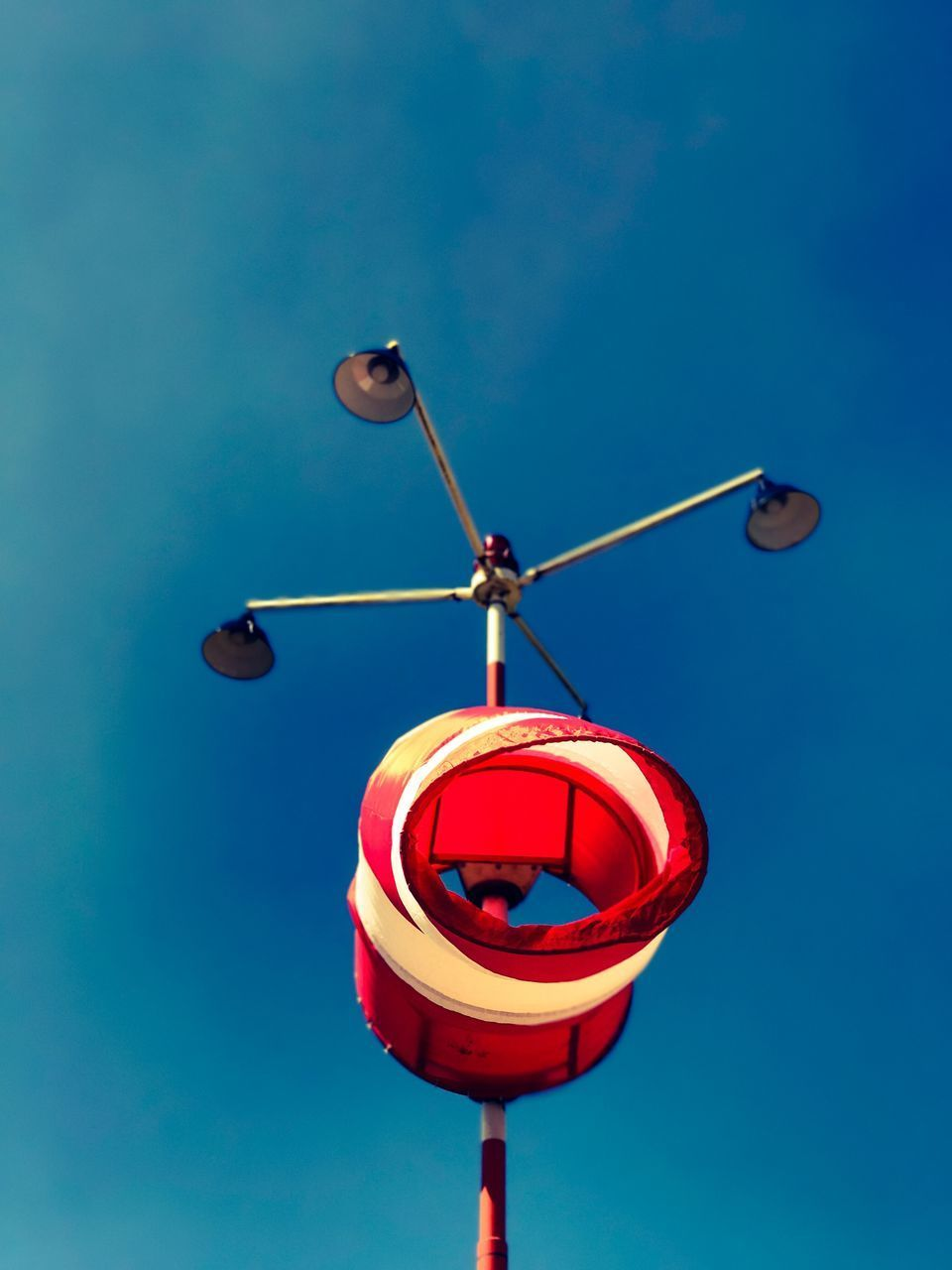 day, low angle view, blue, communication, no people, outdoors, guidance, red, sky, close-up